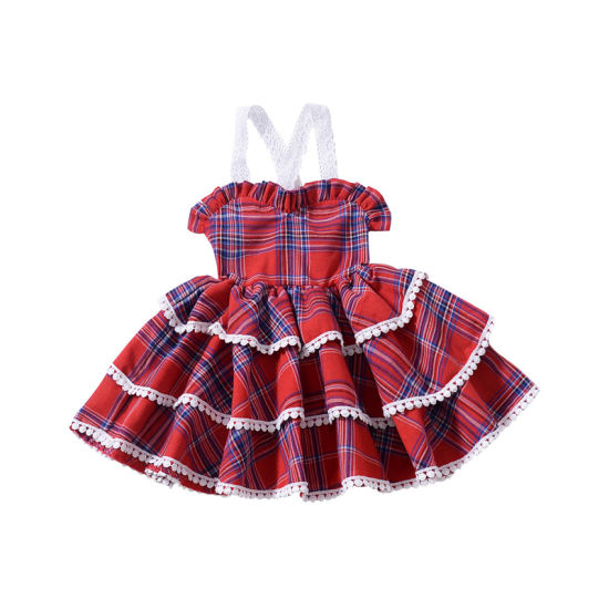 Gingham Sling Sleeve Lace Princess Baby Dress Girls Party Dresses