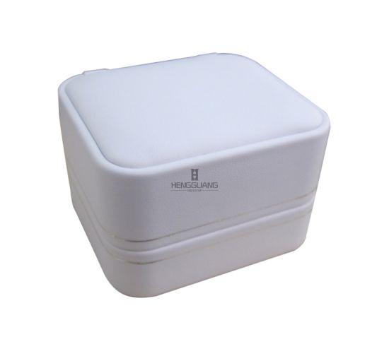 Custom Pure White PU Round Corner Plastic Jewelry Gift Display Storage Ring-Pendandt Packaging Box
