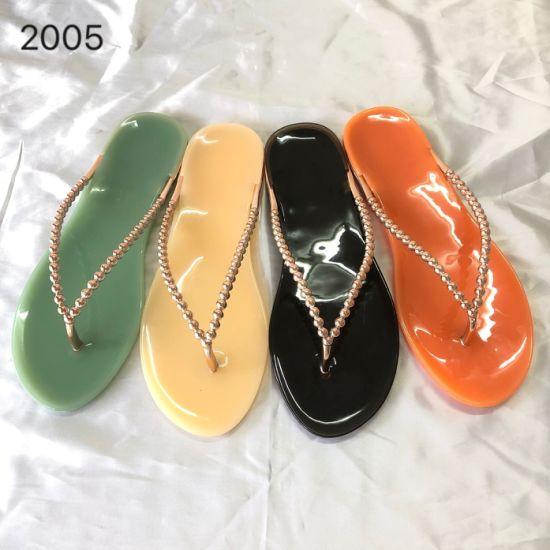 Lady PVC Jelly Slipper Flip Flop Plastic Material