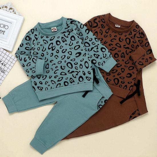 New Arrival Hot Sale 100% Cotton Leopard Printing Style 2 Pieces Tracksuit Wholesale Children Clothes