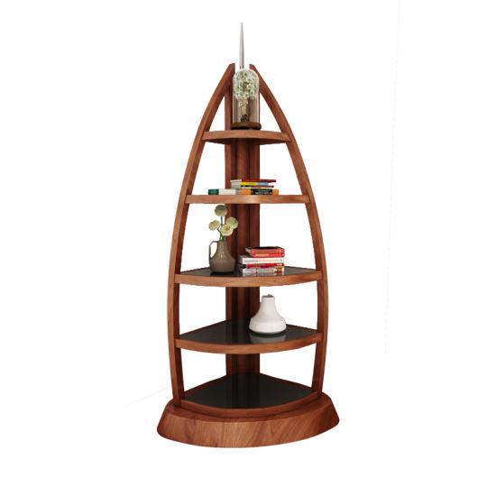 Boat Shaped Corner Bookshelf For Livingroom Furniture In Wooden