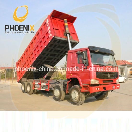 Excellent Condition Front Lifting LHD 8*4 12 Tires Cnhtc Sinotruk HOWO Used Dumping Trucks with Low Price for African Rough Road