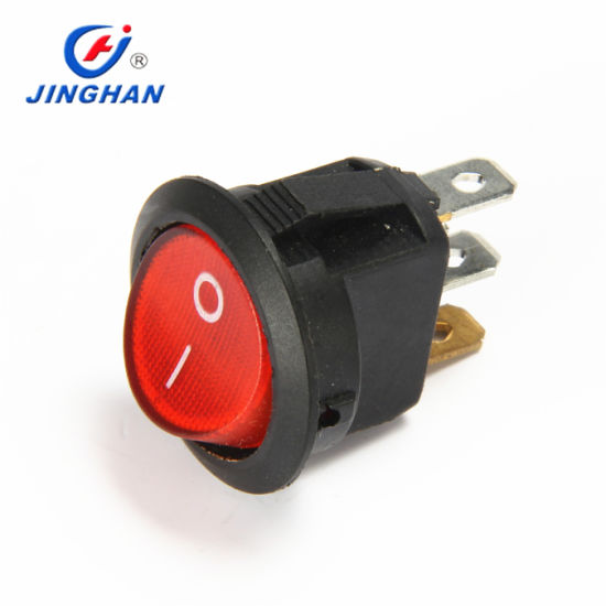 Super Quality LED Illumilated Round Rocker Switch on-off 3 Pins