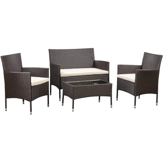 4 PC Outdoor Garden Rattan Patio Furniture Set Cushioned Seat Wicker Sofa