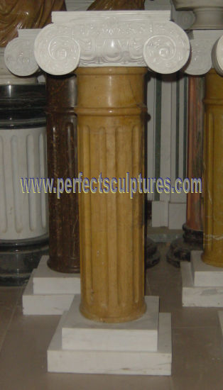 Greek Column with Stone Marble Granite Sandstone (QCM131)