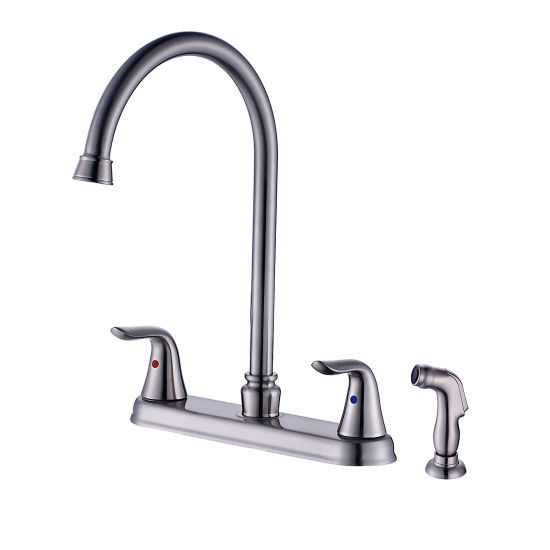 China Flg Two Handle Swivel Spout Kitchen Faucet With Side Spray