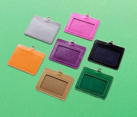 Horizonal PU Leather ID Card Badge Holder Worker Staff and Business Card Holder