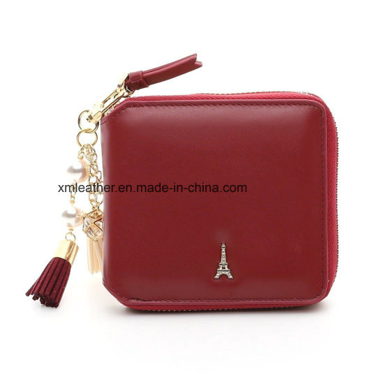 Ladies Short Red PU Leather Wallet with Zipper pictures & photos