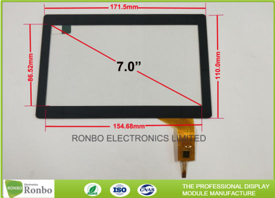 china 7 0 inch tempered glass projected capacitive touch panel multi