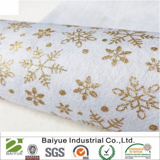 Sparkle Glitter Snowflakes Christmas Print Felt for Patchwork DIY Crafts