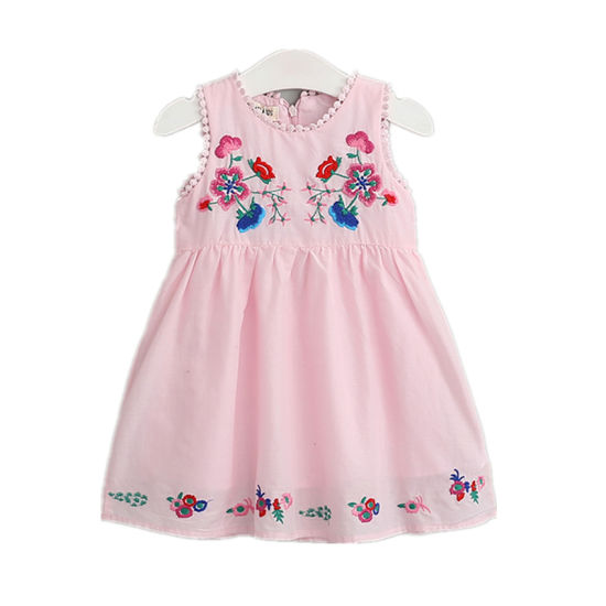fff1fd2f111036 Girl Clothing Boutique Baby Girl Party Dress Kids Frock Handmade Embroidery  Flowers Cotton 2-8y Pink White Princess Dress