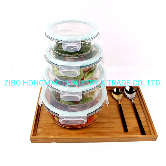 Factory Glass Food Container 1360ml 950ml 630ml 380ml Storage Box Set Lunch Box Set