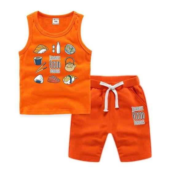 Sushi Print Loose Cotton Kids Vest Set Children's Apparel