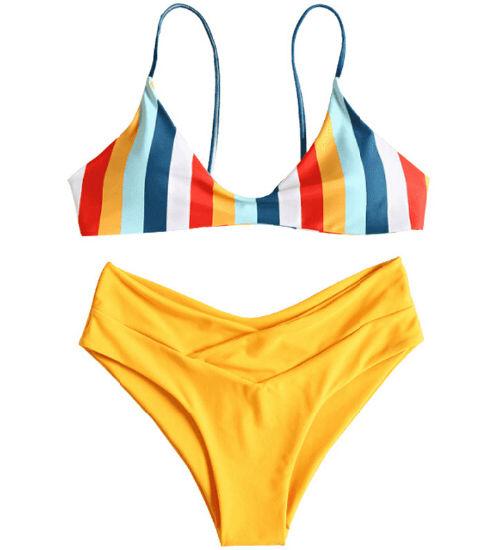 Sexy Women Striped Sublimation Printing Triangle Bikini Swimwear