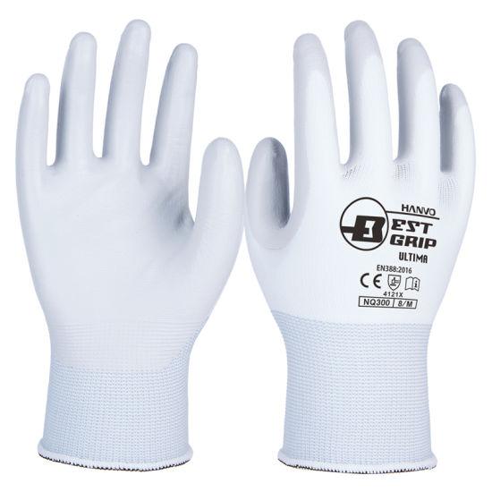 Gardening 13G White Nylon Soft Nitrile Coated Work Glove