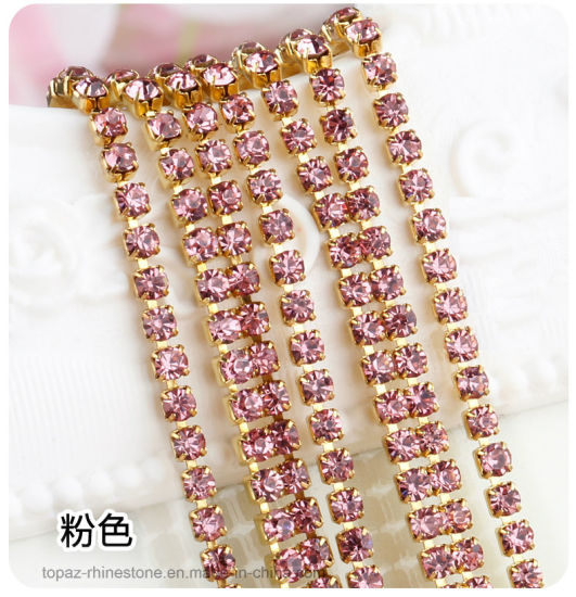 Wholesale Crystal Rhinestones Ss6 Ss8 Ss12 3mm Rhinestone Cup Chain Trimming for Bags, Garment, Shoes (RC-Lt Rose)
