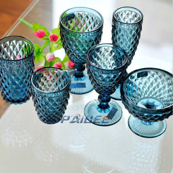 China Colored Glass Wine Cup Crystal, Vintage Blue Glassware
