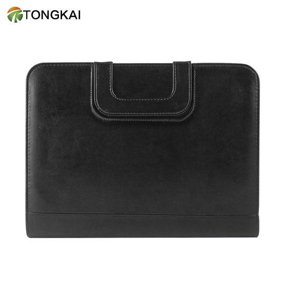 Calculator & Zipper File Pocket Black Leather Portfolio