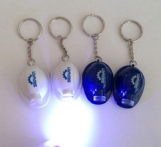 Custom Logo Safety Helmet Keychain with LED Flashlight Key Ring for Promotional Gift pictures & photos