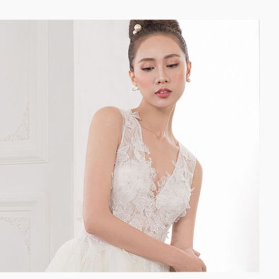 V-Neck Sex Lace Ladies Wedding Dress