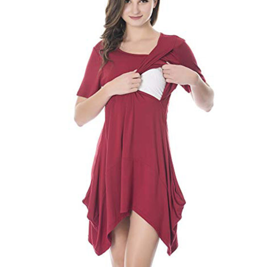 4e7c39d68f6 3in1 Women Layered Professional Side Pocket Asymmetrical Hem Nursing  Maternity Dress