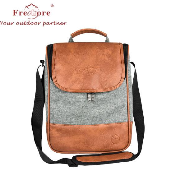 Shoulder Sling Handle Hold PU Leather Food Cans Bottles Storage Cooler Bag with Insulated Side Zipper