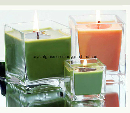 Hot Sell Square Transparent Glass Candle Holders Cup
