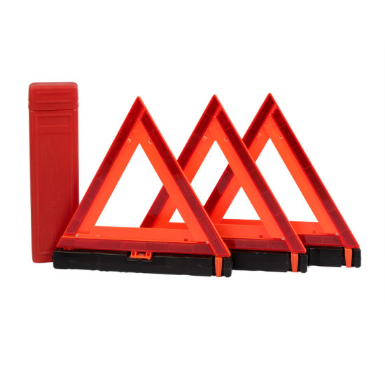 Reflective Red and Orange Emergency Warning Triangles (Pack of 3)