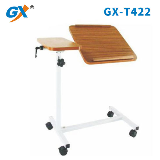 Easy Height Adjustable Tilting Overbed Table with Wheels