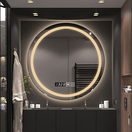Factory Quality Control Round Lighted LED Bathroom Makeup Mirror Wall-Mounted