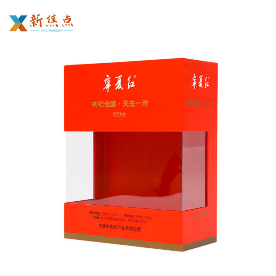 Wholesale Printing Foldable Wine Gift Box with PVC Clear Window