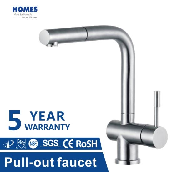 Kitchen Sink Tap Pull Down Brushed with Pull out Sprayer High Arc Single Handle Faucet