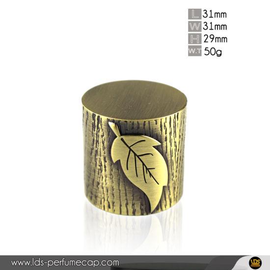 Bronze Color Cylider Shape Zamac Perfume Bottle Cap with Wooden Leaf Pattern