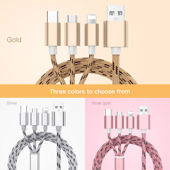 3 in 1 Nylon USB Cable Data Wire Mobile Phone Charger