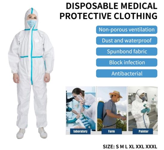Disposable Protective Clothing Non-Woven Protective Isolation Suit Clothing with FDA