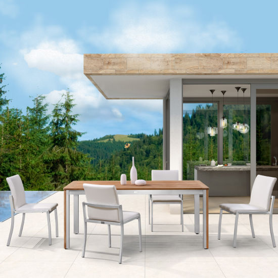 Garden Teak Wood Table Outdoor Dining Furniture Set with Aluminium Chair