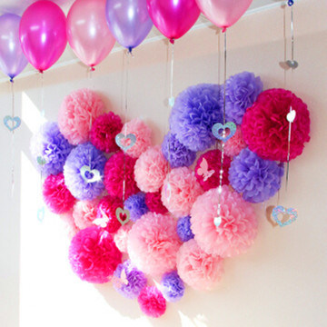 Wholesale Customized Tissue Paper Pompoms Paper Flower Decoration for Wedding Party Holiday