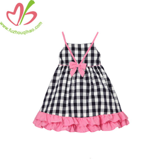 Customized Ruffles Gingham Cotton Girl Sundress Jumper Skirt