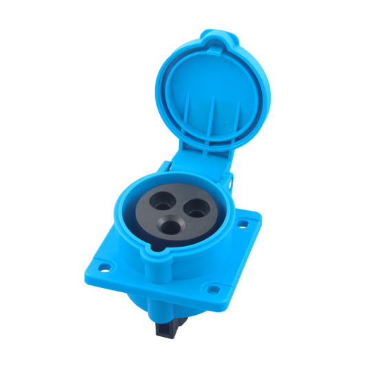 IEC309 Outdoor Waterproof IP44 2/3/4/5 Phase Electrical Power Mennekes Type Straight Flanged Industrial Sockets Outlets (3031601)