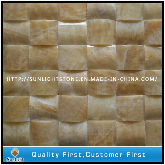 Natural Honey Yellow Onyx Mosaic for Kitchen Wall Backsplash Tile pictures & photos