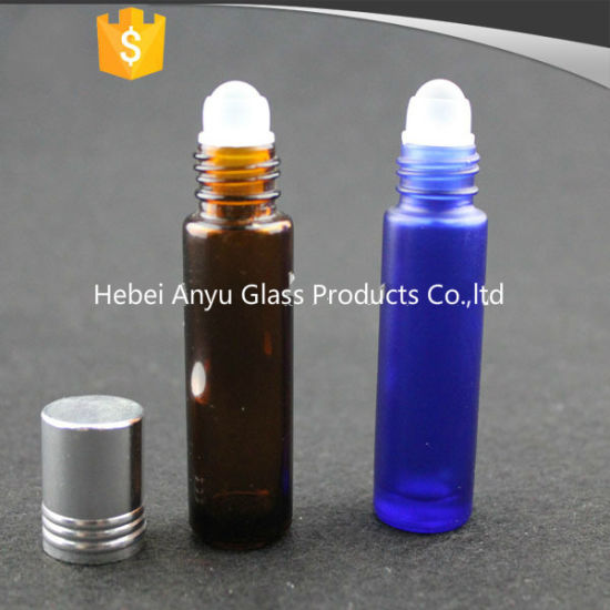 8ml 10ml Frosted Blue Glass Roll on Bottle for Essential Oil with Black Cap pictures & photos