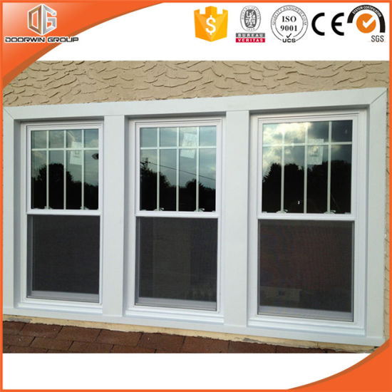 Wood Clad Aluminum Double Hung Window Wooden Frames Designs With Full Divided Light Grille