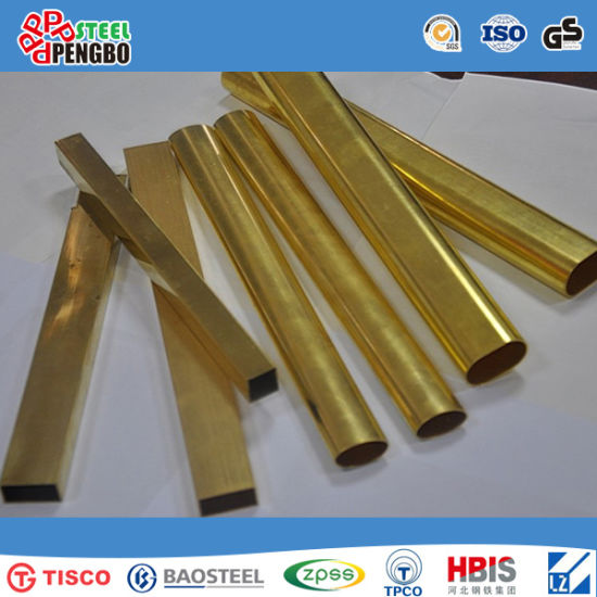 Gold Surface 304 Stainless Steel Pipe for Decoration pictures & photos