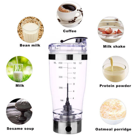 Wholesale Custom Printing Plastic BPA Free Electric Powder Blending Bottle Mixer Battery Operated Automatic Protein Shaker