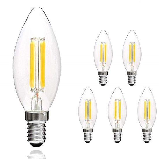 China Led Filament Candle Clear Bulbs E12 Led Candelabra Bulbs 4w Torpedo Shape Warm Indoor Vintage Bulb China Led Filament Bulb Filament Bulb