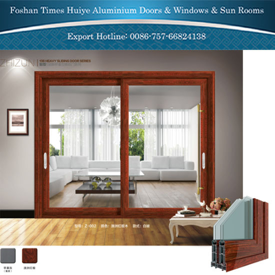 China Double Layer Tempered Hollow Glass Aluminum Sliding Doors