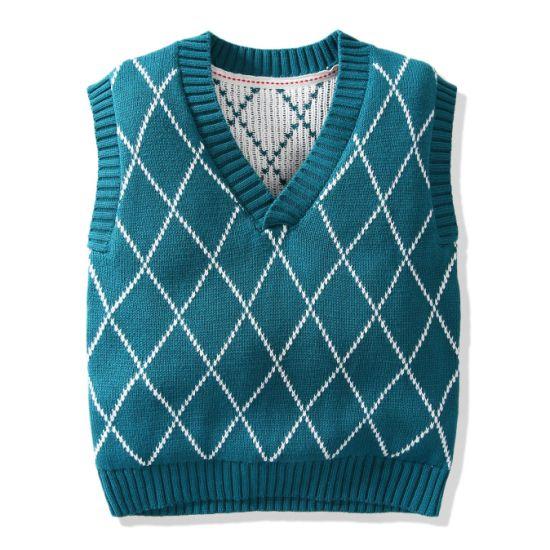 Children's Sweater Vest Jacquard Lattice Pattern Vest