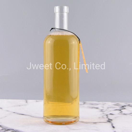 1000ml Round Shape Logo Custom Empty Glass Wine Rum Bottle