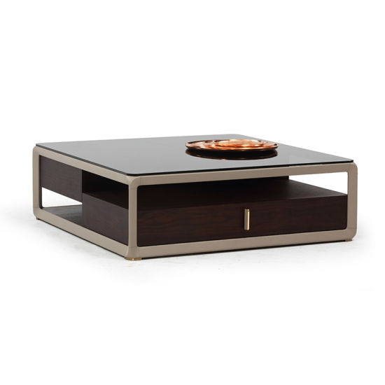 Modern Luxury Home Furniture Square Glass Coffee Table With 2 Drawers China Coffee Table Coffee Tables Made In China Com