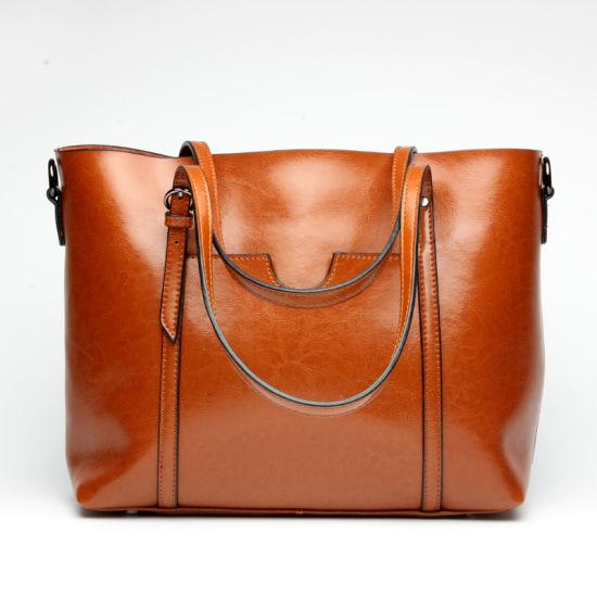 Fashion Oil Wax Cow Leather Ladies Shopping Bag Tote Handbag